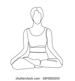 Continuous Line Drawing  girl in lotus position, yoga. Trendy one line draw design vector illustration,  healthy lifestyle theme