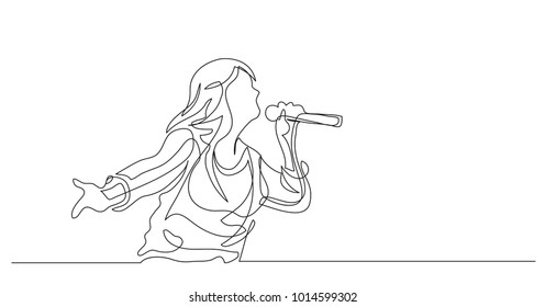 Continuous line drawing. Girl with a microphone in her hands sings a song. Vector illustration