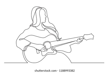 continuous line drawing of girl playing acoustic guitar