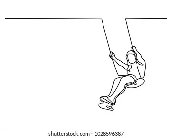 Continuous line drawing. Girl swinging on swing. Vector illustration