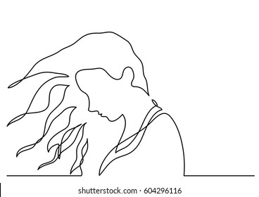continuous line drawing of girl in the wind