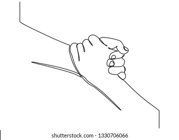 Continuous line drawing. Give a helping hand. Hold it tight. Interesting, helpful. Unity, salvation
