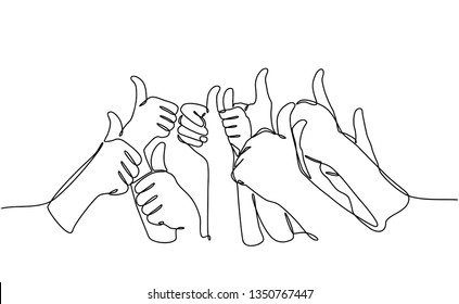 continuous line drawing gives an expression of success. praise for success. Many people congratulate a winner and holding their thumbs up isolated on white background