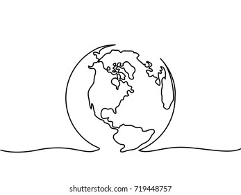 Continuous line drawing. Globe of the Earth. Map side of America. Vector illustration