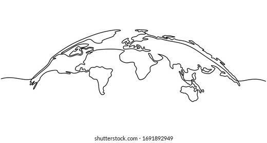 Continuous line drawing of globes earth. Globe similar world map icon. map silhouette backdrop for Education, Travel worldwide, infographics, Science, Web Presentations isolated on white background