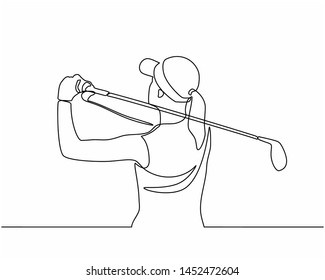 Continuous line drawing of the Golfer hit the ball in full swing to compete. Healthy Sport. Sporty woman golfer player doing golf. Healthy Lifestyle Concept isolated on white background.