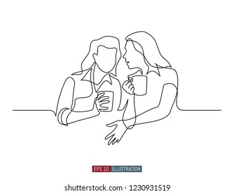 Continuous line drawing of gossip girls with cups. Template for your design works. Vector illustration.