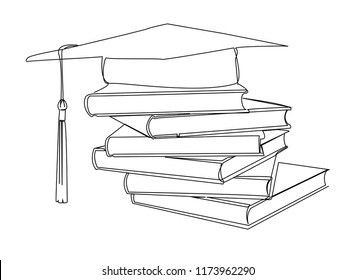 continuous line drawing of graduation cap bookshelf.