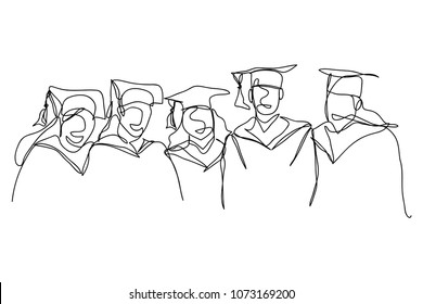 Continuous line drawing of graduation  group of friends vector illustration.