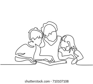 Continuous line drawing. Grandmother reading book with her grandchildren. Vector illustration