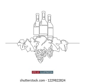 Continuous line drawing of grape wreath with wine bottles. Template for your design works. Vector illustration.