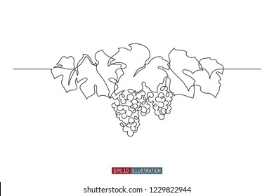 Continuous line drawing of grape wreath. Template for your design works. Vector illustration.