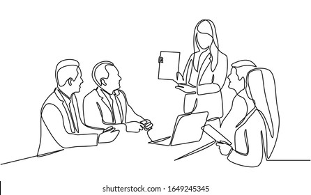 Continuous line drawing of group of business people having discussion in conference room. Creative business team brainstorming over new project isolated on white background