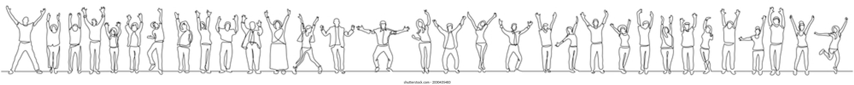 continuous line drawing of group of diverse happy people standing hands up