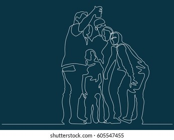 continuous line drawing of Group of diversity people taking selfie together fun