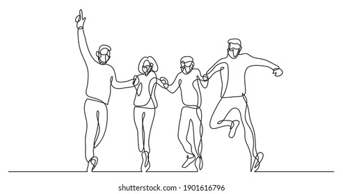 continuous line drawing of group of four people jumping wearing face masks