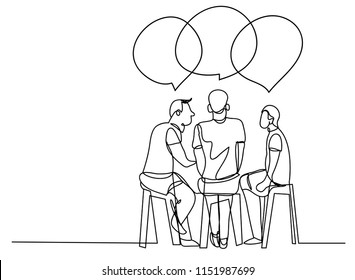 continuous line drawing of a group of friends talking party conference.