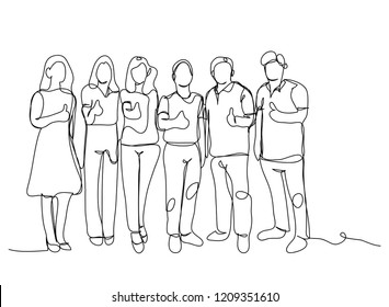 Continuous line drawing of a group of friends Enjoying a line dancing vector illustration