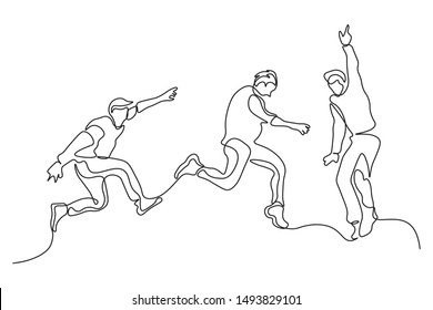 continuous line drawing of a group of friends jumping with joy vector illustration