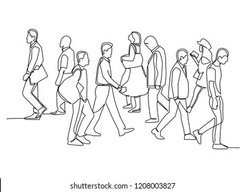 continuous line drawing of group of people walking marker sketch