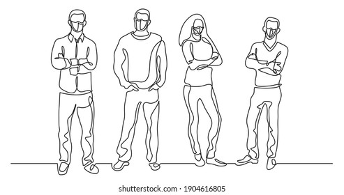 continuous line drawing of group of positive people wearing face masks