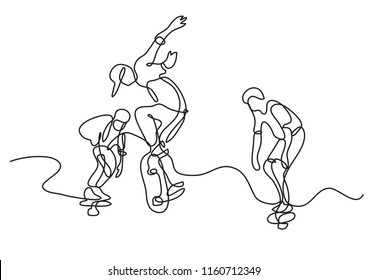 continuous line drawing of group of skaters