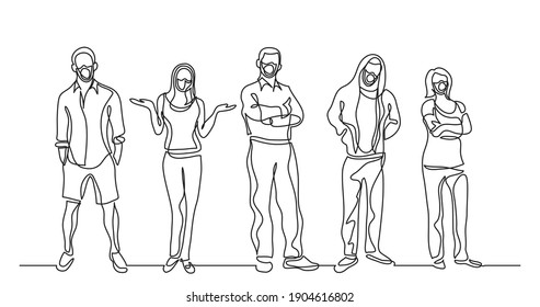continuous line drawing of group of standing people wearing face masks
