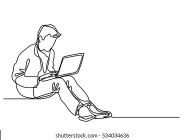 continuous line drawing of a guy sitting with laptop computer