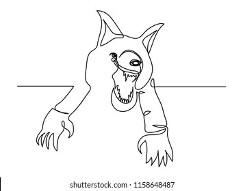 continuous line drawing of Halloween wolf Demon ghost vector illustration