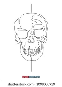 Continuous line drawing of hand drawn skull. Vector illustration. Element for you design works.