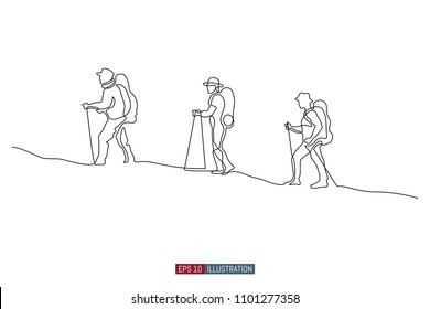 Continuous line drawing of hand drawn traveling people with backpacks silhouettes. Vector illustration. Element for you design works.