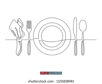 Continuous line drawing of hand drawn plate, napkin, fork and knife. . Template for your design. Vector illustration.