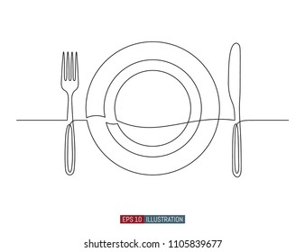 Continuous line drawing of hand drawn plate, fork and knife. . Template for your design. Vector illustration.
