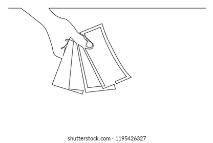 continuous line drawing of hand giving money banknotes