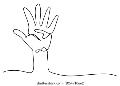 continuous line drawing of a hand holding five fingers vector illustration.