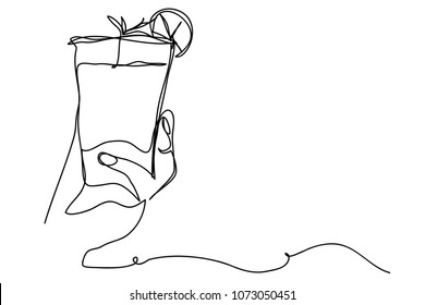 Continuous line drawing of hand holding orange juice, summer illustration.