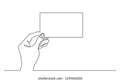 continuous line drawing of hand holding blank horizontal piece of paper