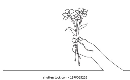 continuous line drawing of hand holding flower bouqet