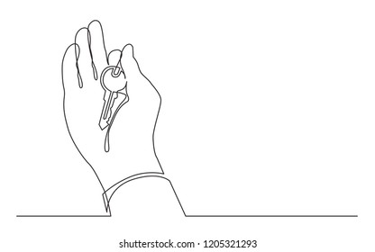 continuous line drawing of hand holding key