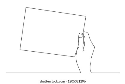 continuous line drawing of hand holding carton sign