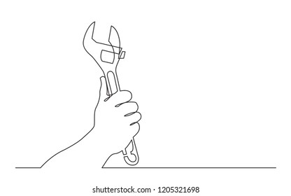 continuous line drawing of hand holding adjustable wrench spanner