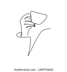 Continuous line drawing of the hand holding a cup of coffee.