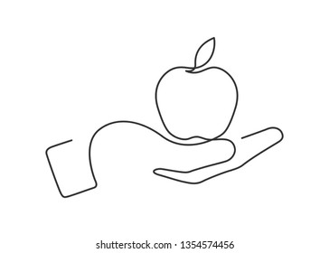 Continuous line drawing of hand holding apple. Vector illustration