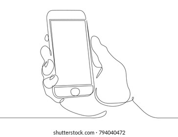 Continuous line drawing of hand holding smartphone mobile device