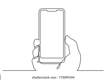 continuous line drawing of hand with modern mobile phone