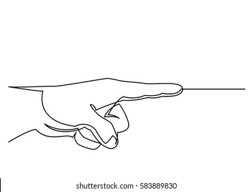 continuous line drawing of hand pointing direction with index finger