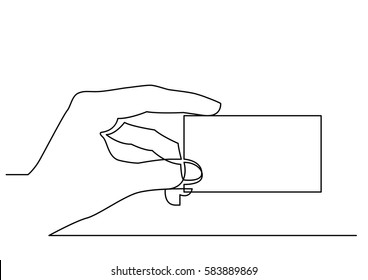 continuous line drawing of hand showing blank business card