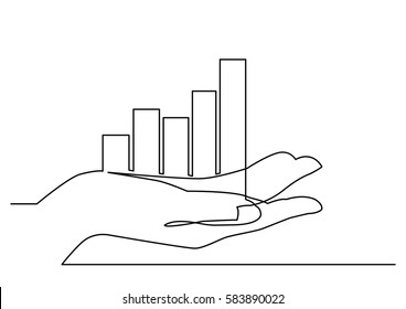 continuous line drawing of hand showing growth chart