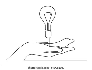 continuous line drawing of hand showing light bulb or idea metaphor