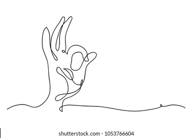 continuous line drawing of a hand symbol okay.